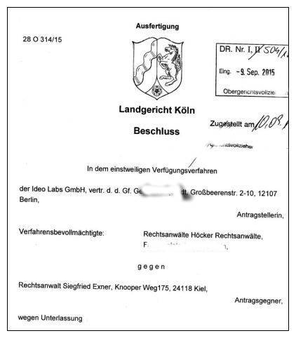 einstweilige Verfügung LG Köln, Az. 28 O 314-15