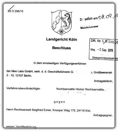 einstweilige Verfügung LG Köln 28 O 296-15