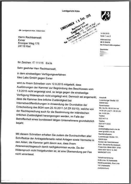 blog verbot unterlagen - Anschreiben Rechtsanwalt