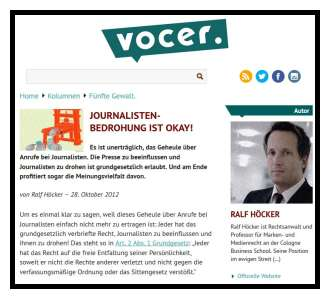 RA Höcker - Journalisten-Bedrohung okay.
