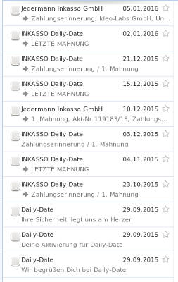 Ideo Labs Inkasso E-Mails