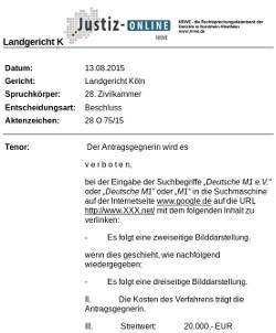 NRWE - LG Köln: Bilddarstellung und Linkhaftung von Google