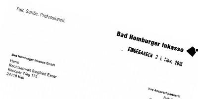 Bad Homburger Inkasso (BHI)-Schreiben