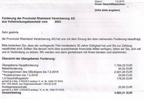BHI-Inkasso zur Forderung der Provinzial Rheinland Versicherung AG