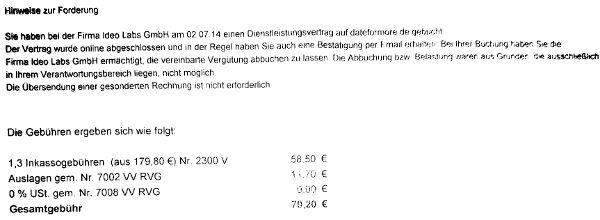 Kosten für dateformore-Inkasso der Fairmount GmbH